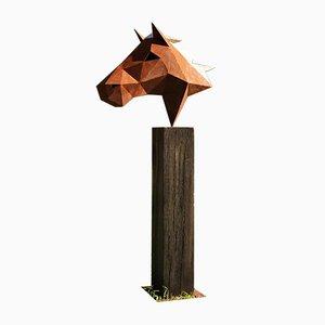 Deutsche Polygon Skulptur aus Stahl, Pferd auf oxidiertem Eichenholz Sockel, 21