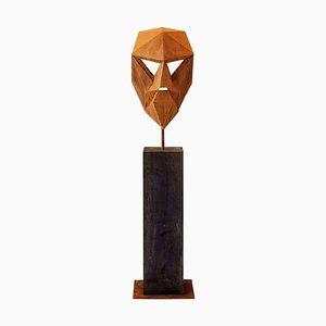 German Steel Polygon Sculpture, Mask I on an Oxidised Oak Pedestal, 21st Century
