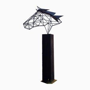 Outdoor Draht Skulptur, Wire Horse auf einem oxidierten Eichen Sockel, 21st Century