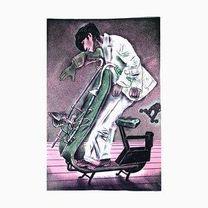 Figurative Kunst, Wim Jonkman, Jump 4 Joy, Steingedruckte Lithographie, 21. Jahrhundert