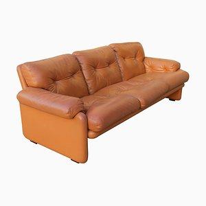 Coronado Light Cognac Leather Sofa by Tobia Scarpa