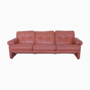 Coronado Salmon Pink Leather Three-Seater Sofa by Tobia Scarpa