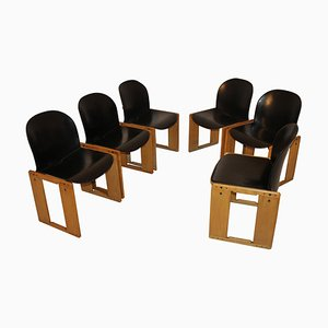 Mid-Century Black Leather Dialogo Chair by Tobia Scarpa for B&B Italia, 1970s
