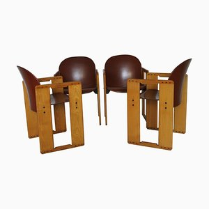 Dialogo Brown Leather Chairs by Tobia Scarpa for B&B Italia, 1970s, Set of 4