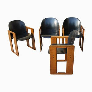 Dialogo Black Leather Chairs by Tobia Scarpa for B&B Italia, 1970s, Set of 4