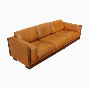 Mod. 920 Brown Leather Sofa by Afra and Tobia Scarpa for Cassina, Italy, 1960s