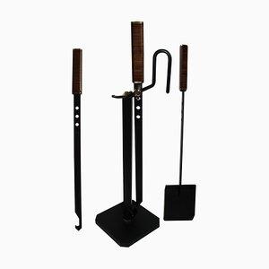 Mid-Century Italian Fireplace Tools Set by Afra & Tobia Scarpa, Set of 4