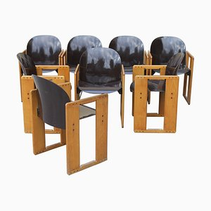 Dialogo Brown Chairs by Tobia Scarpa for B&B Italia, 1970s, Set of 8
