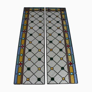 Art Deco Italian Stained Glass Panels, 1935, Set of 2