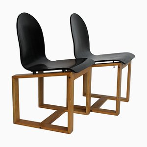 Mid-Century Italian Chairs with Cubic Wood Structure and Curved Seat, 1970s, Set of 2
