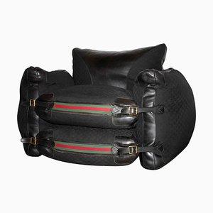 Gucci Sessel aus schwarzem Leder in limitierter Auflage, Italien, 1980er