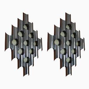 Italian Chromed Metal Sconces, 1970s, Set of 2