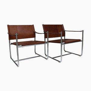 Amiral Sessel aus Stahl & braunem Leder von K Mobring für IKEA, Schweden, 1967, 2er Set