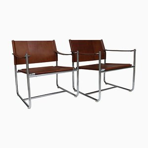 Steel and Brown Leather Amiral Easy Chair by K Mobring for IKEA, Sweden, 1967, Set of 2