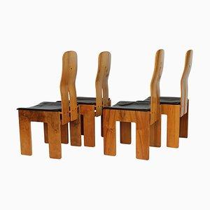 Stühle aus Nussholz & schwarzem Leder von Carlo Scarpa für Bernini, 1977, 4er Set