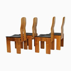 Walnut and Black Leather Chairs by Carlo Scarpa for Bernini, Italy, 1977, Set of 4