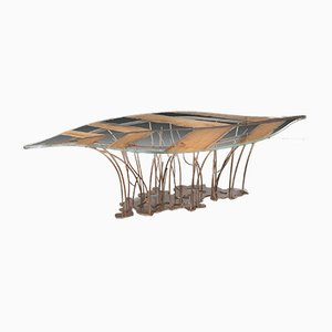 Leaf Venezia Table in Tempered Glass & Oak from Vgnewtrend, Italy