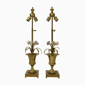 French Bronze Lamps with Reeds and Ceramic Flowers from Maison Charles, 1950s, Set of 2