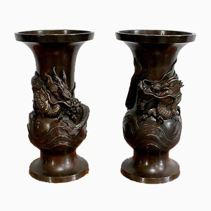 Japanese Vases in Patinated Bronze, 1900s, Set of 2