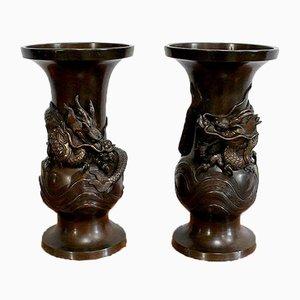Japanische Vasen aus patinierter Bronze, 1900er, 2er Set