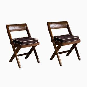 Modell: Pjec-010301 Bibliotheksstühle von Pierre Jeanneret & Eulie Chowdhury, 1959, 2er Set