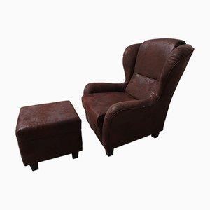 Großer Vintage Sessel mit Fußstütze, 2er Set