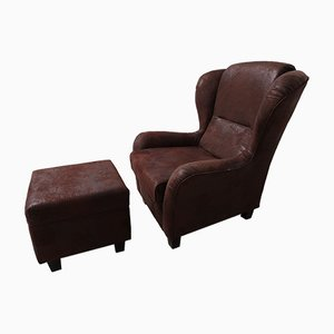 Large Vintage Lounge Chair with Footrest, Set of 2