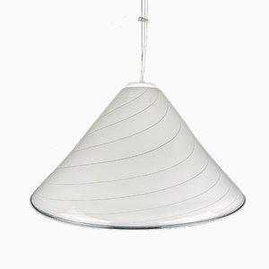 Vintage Swirl Murano White Pendant Lamp, Italy, 1970s