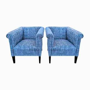 Blue Club Chairs, Set of 2