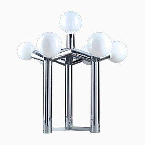 Lampada da tavolo scultorea in metallo cromato e vetro bianco di JT Kalmar, Vienna, anni '70