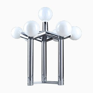 Sculptural Table Lamp in Chrome and White Glass by J. T. Kalmar, Vienna, 1970s