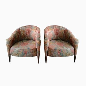 Postmodern American Armchairs with Glitter Paisley Upholstery, 1980s, Set of 2