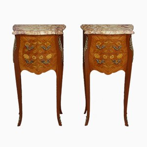Marble Topped Bedside Cabinets, Set of 2