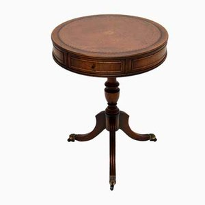 Antique Regency Style Drum Table with Leather Top