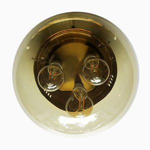 Amber Glass and Brass Ceiling or Wall Light, 1960s
