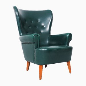 Green Wingback Lounge Chair by Theo Ruth for Artifort, 1950s