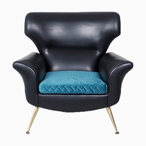 Mid-Century Modern Black Lounge Chair with Brass Legs, 1950s