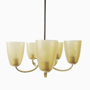 Mid-Century Chandelier in Brass and Glass