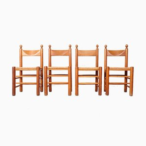 Vintage Oak Dining Chairs with Wicker Seats, 1970s, Set of 4