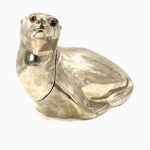 Silver-Plated Seal Wine Cooler or Ice Bucket by Franco Lapini, 1970s, Italy