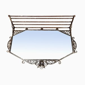 Art Deco Mirror and Wrought Iron Shelf