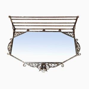 Art Deco Spiegel und Regal aus Schmiedeeisen