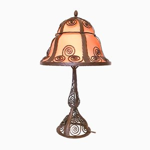 Large Art Deco Mushroom Lamp in Wrought Iron, 1925