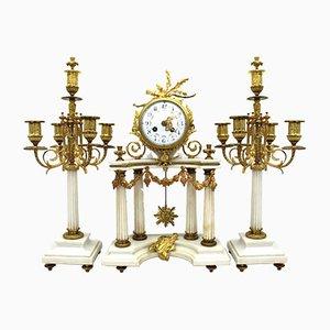 Pendulum Clock with Napoleon III Candelabra in Golden Bronze and Marble, 19th-Century, Set of 3