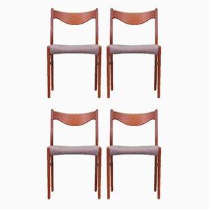 Teak Stühle, 1970er, Dänemark, 4er Set