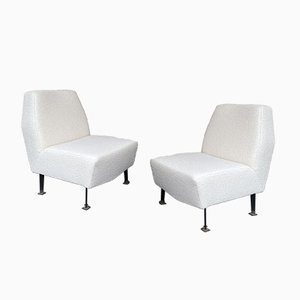 Italian Slipper Chairs with Bouclé Fabric by Studio Apa for Lenzi, 1960s, Set of 2