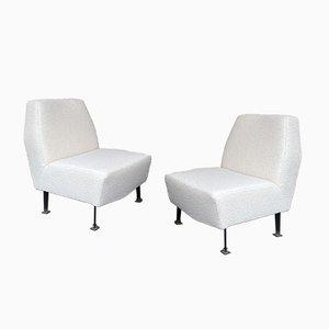 Italienische Slipper Sessel mit Bouclé Bezug von Studio Apa für Lenzi, 1960er, 2er Set