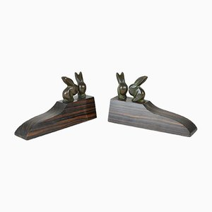 Art Deco Bronze Rabbit Bookends, 20th-Century, Set of 2