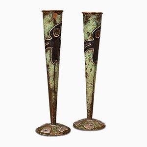 Vases Flute Antiques en Cuivre, France, 1920s, Set de 2