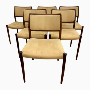 Model 80 Rosewood Chairs by Niels Otto (N. O.) Møller, Set of 6